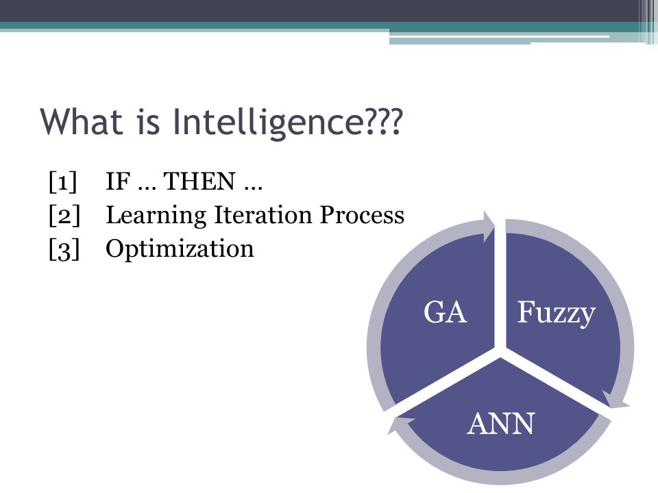 What is Intelligence [1] IF … THEN … [2] Learning Iteration Process [3] Optimization Fuzzy. ANN.